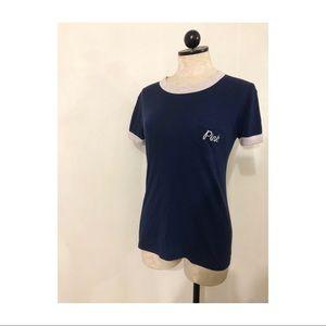 Victoria Secret PINK ringer tee pocket navy blue